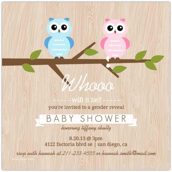 Gender Reveal Baby Shower Invitations Gender Reveal Owl Baby Shower Invitation