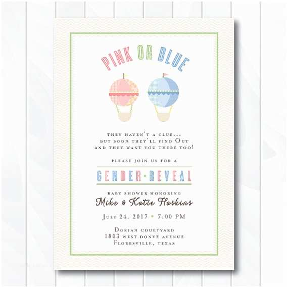 Gender Reveal Baby Shower Invitations Hot Air Balloon Gender Reveal Baby Shower Invitation Gender