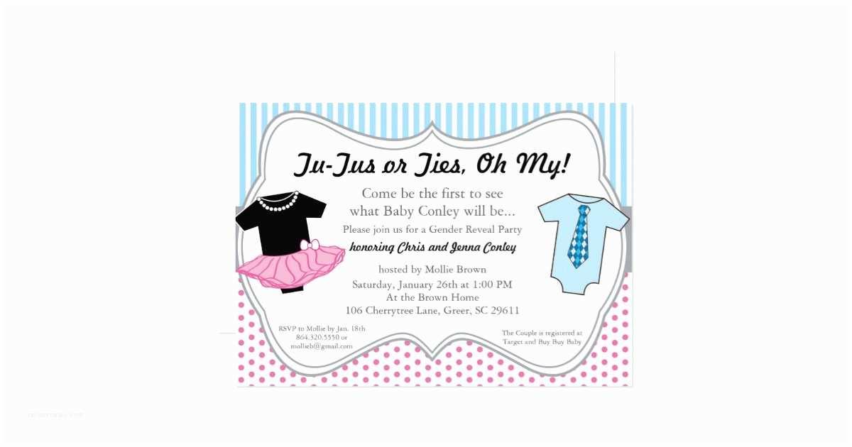Gender Reveal Baby Shower Invitations Tutus Ties Gender Reveal Baby Shower Invitation
