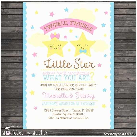 Gender Reveal Baby Shower Invitations Twinkle Twinkle Little Star Gender Reveal Invitation