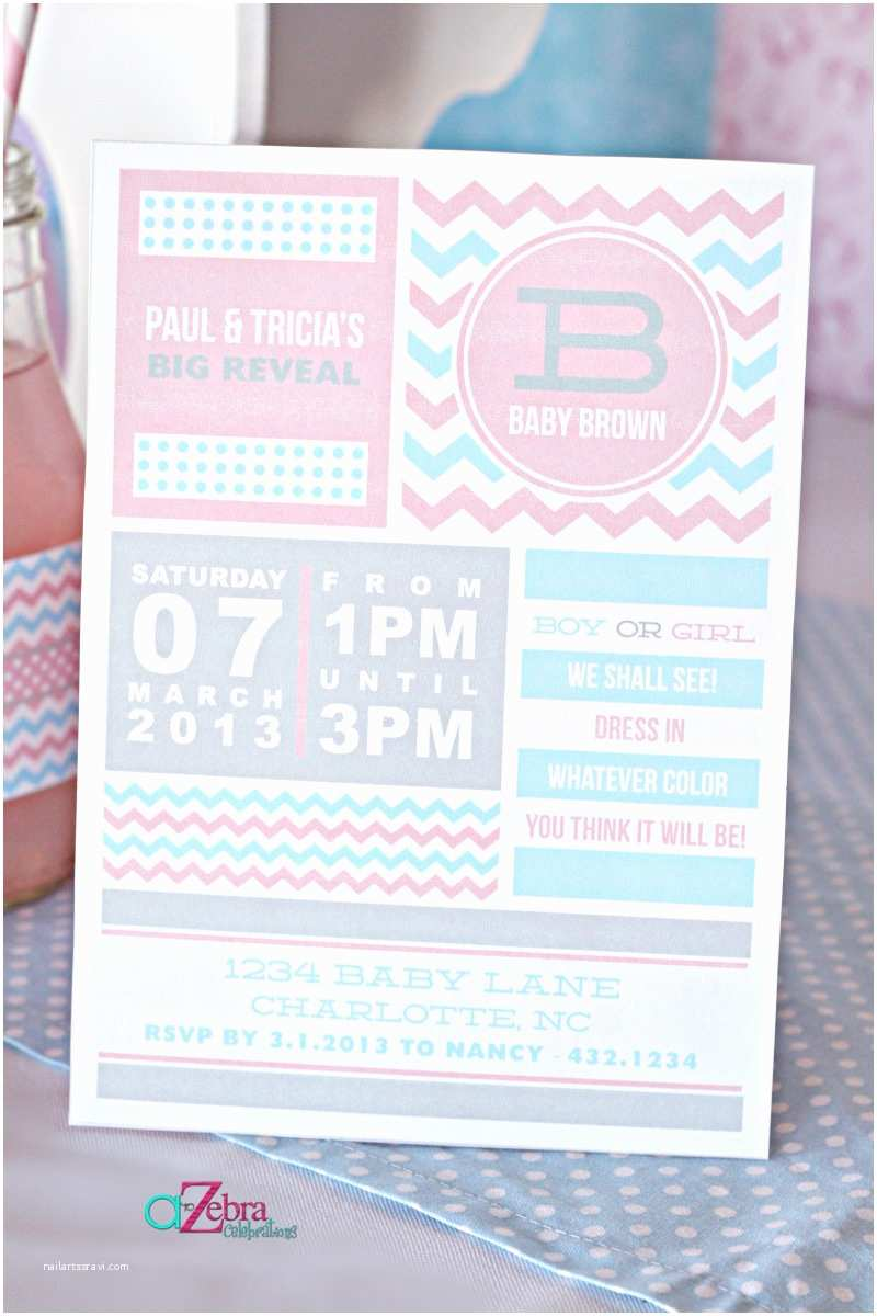 a gender reveal party using chevron stripes and polka dots