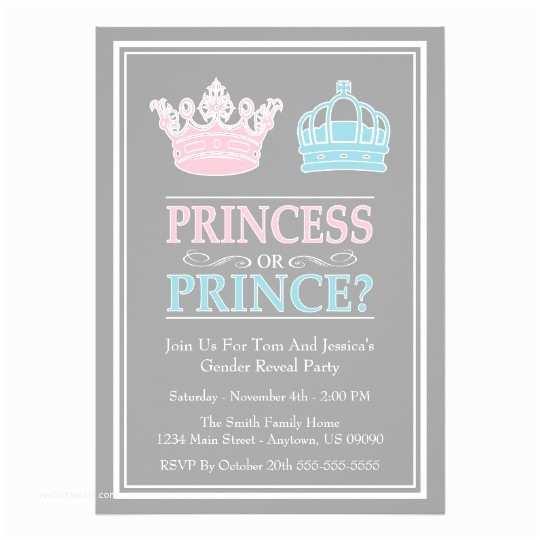 Gender Reveal Invitation Ideas Princess Prince Gender Reveal Party Invitations