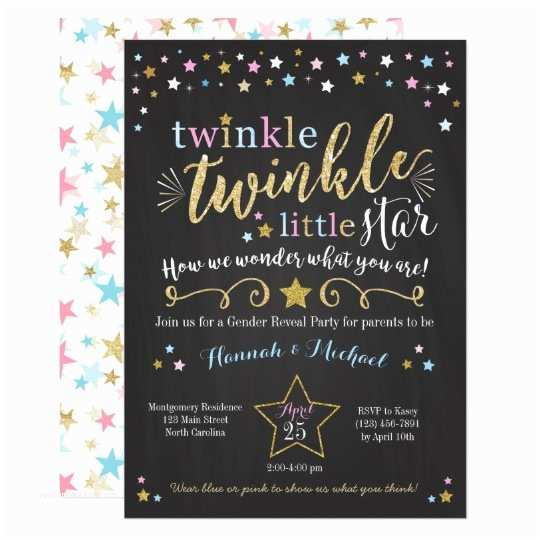Gender Reveal Invitation Ideas Twinkle Twinkle Little Star Gender Reveal Invite