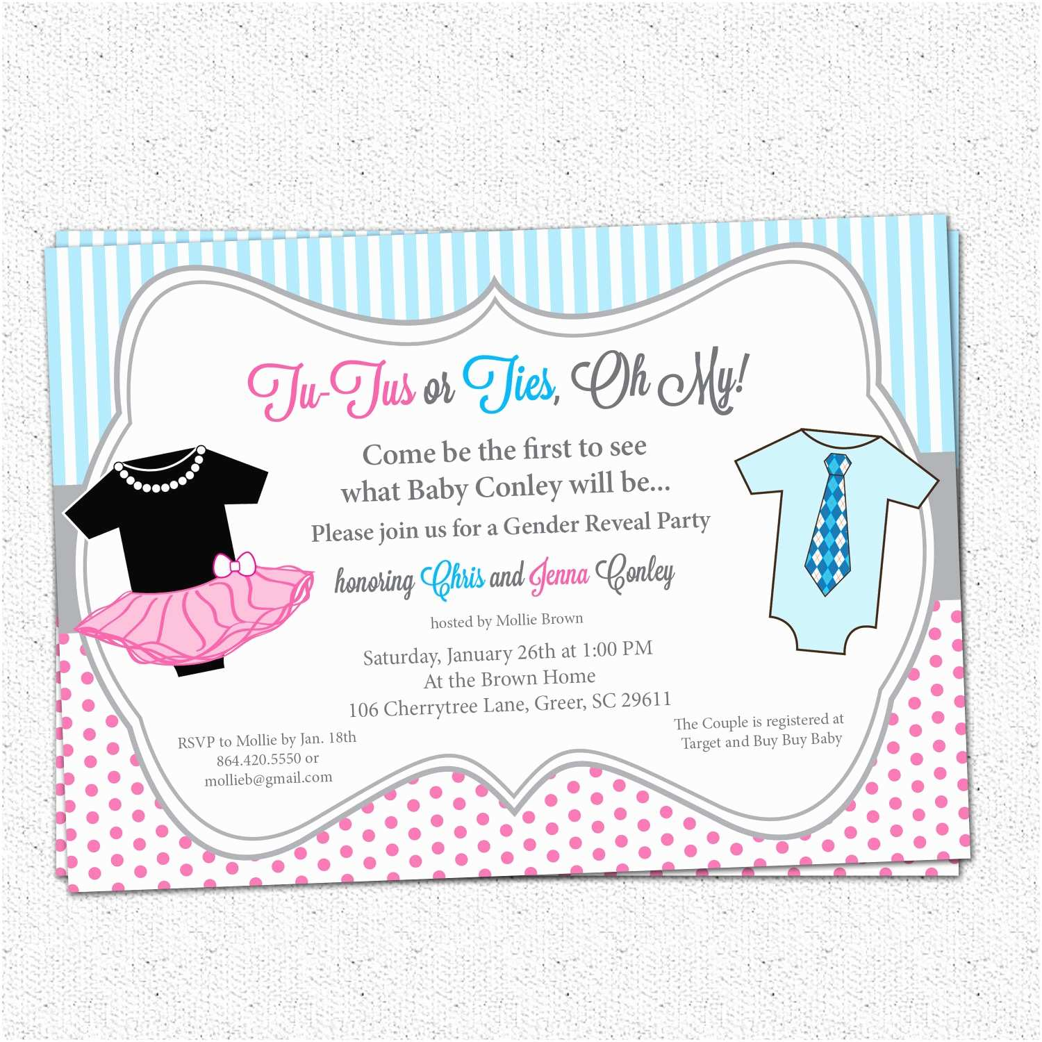 tutus or ties gender reveal baby shower party invitations pink and blue o