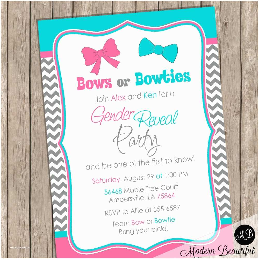 Gender Reveal Invitations Bows or Bowties Gender Reveal Invitation Baby Reveal Invite