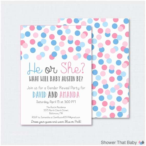 Gender Reveal Invitations Pink and Blue Gender Reveal Invitation Printable or Printed