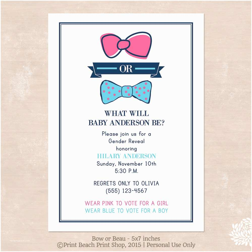 Gender Reveal Party Invitation Template Baby Shower – Palm Beach Print