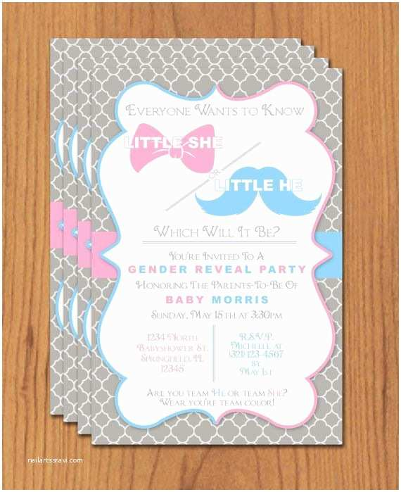 Gender Reveal Party Invitation Template Bow and Mustache Gender Reveal Editable Template