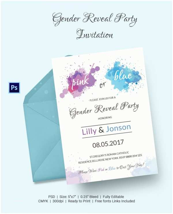 Gender Reveal Party Invitation Template Free Printable Gender Reveal Party Invitations – Gangcraft
