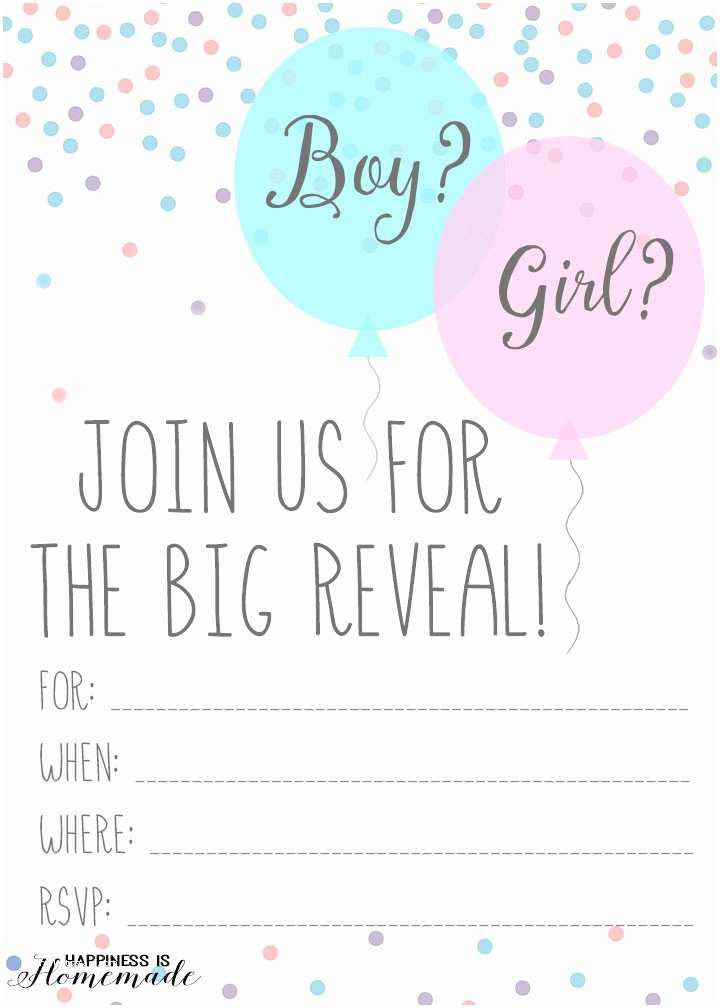 Gender Reveal Party Invitation Template Free Printable Gender Reveal Party Invitations