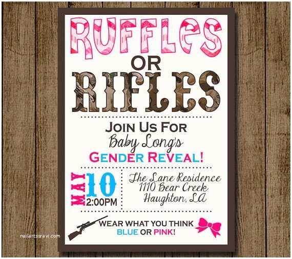 Gender Reveal Party Invitation Template Gender Reveal Invitation Invite Ruffles Or Rifles Camo