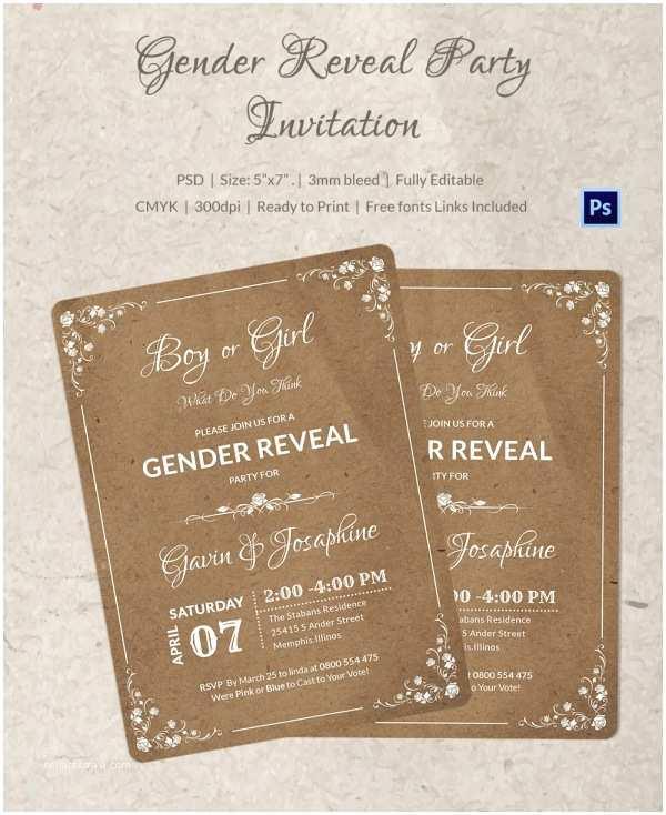 Gender Reveal Party Invitation Template Gender Reveal Invitation