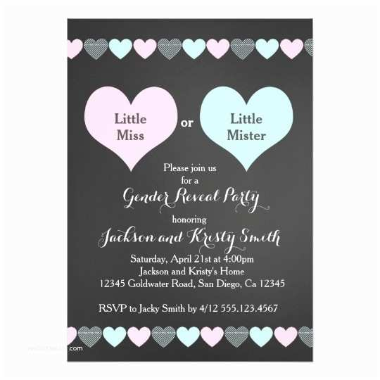 Gender Reveal Party Invitation Template Gender Reveal Party Invitation Hearts
