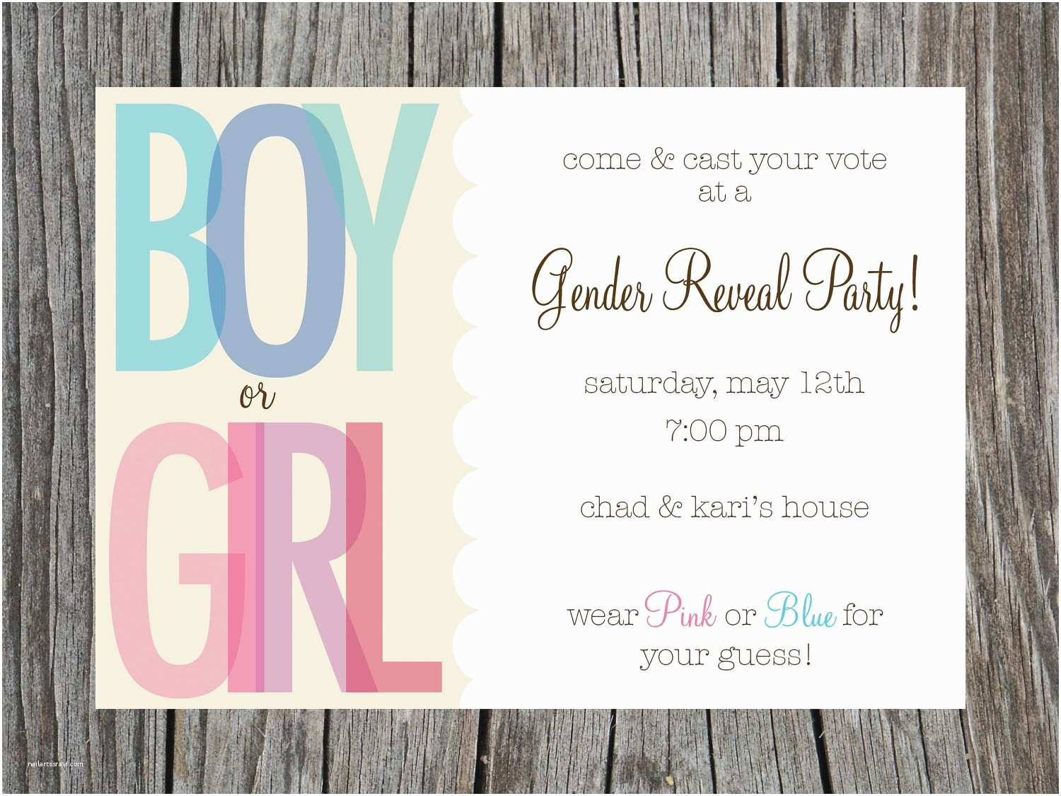 Gender Reveal Party Invitation Template Gender Reveal Party Invites Template