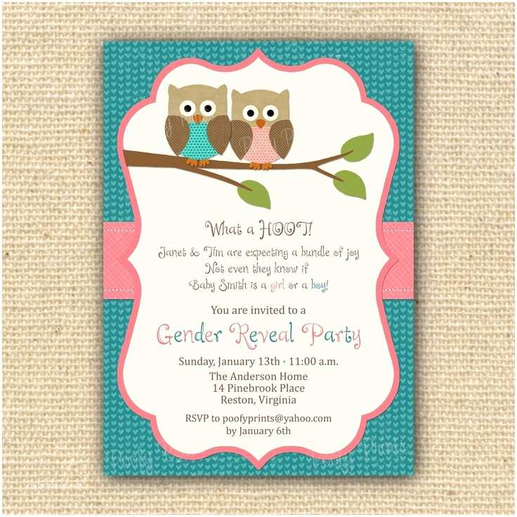 Gender Reveal Party Invitation Template Love These Gender Reveal Party Invitations Owl