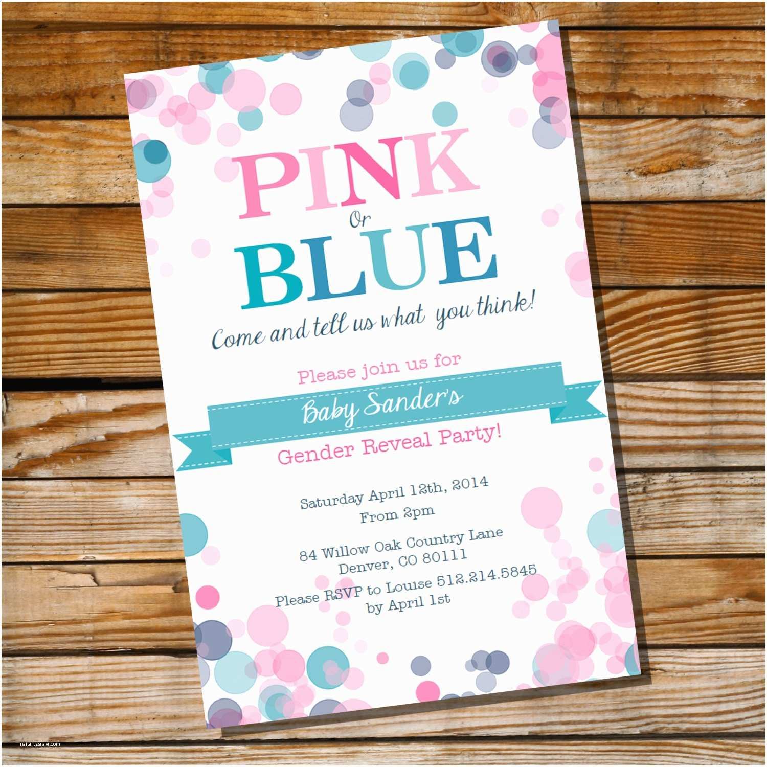 Gender Reveal Party Invitations Gender Reveal Party Invitation Pink or Blue Instantly