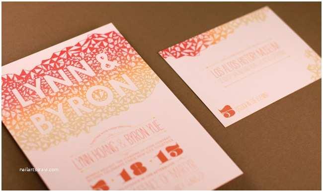 Geometric Wedding Invitations Geometric Ombre Wedding Invitation