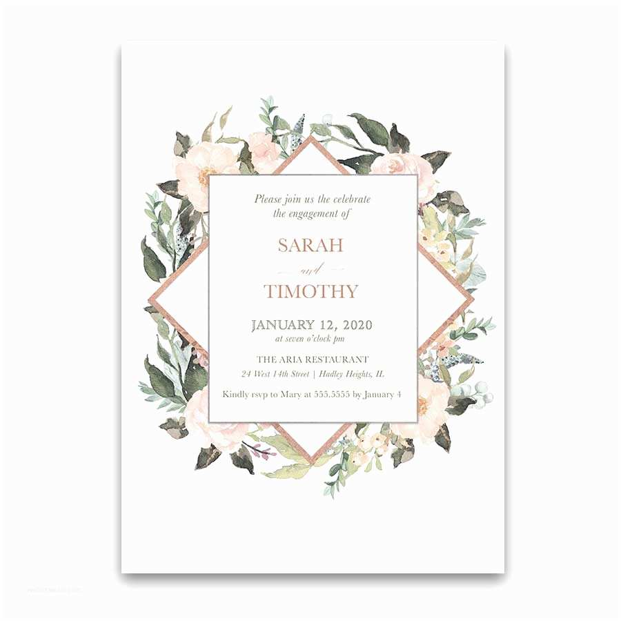 Geometric Wedding Invitations Geometric Wedding Invitations Blush Peach Floral Greenery