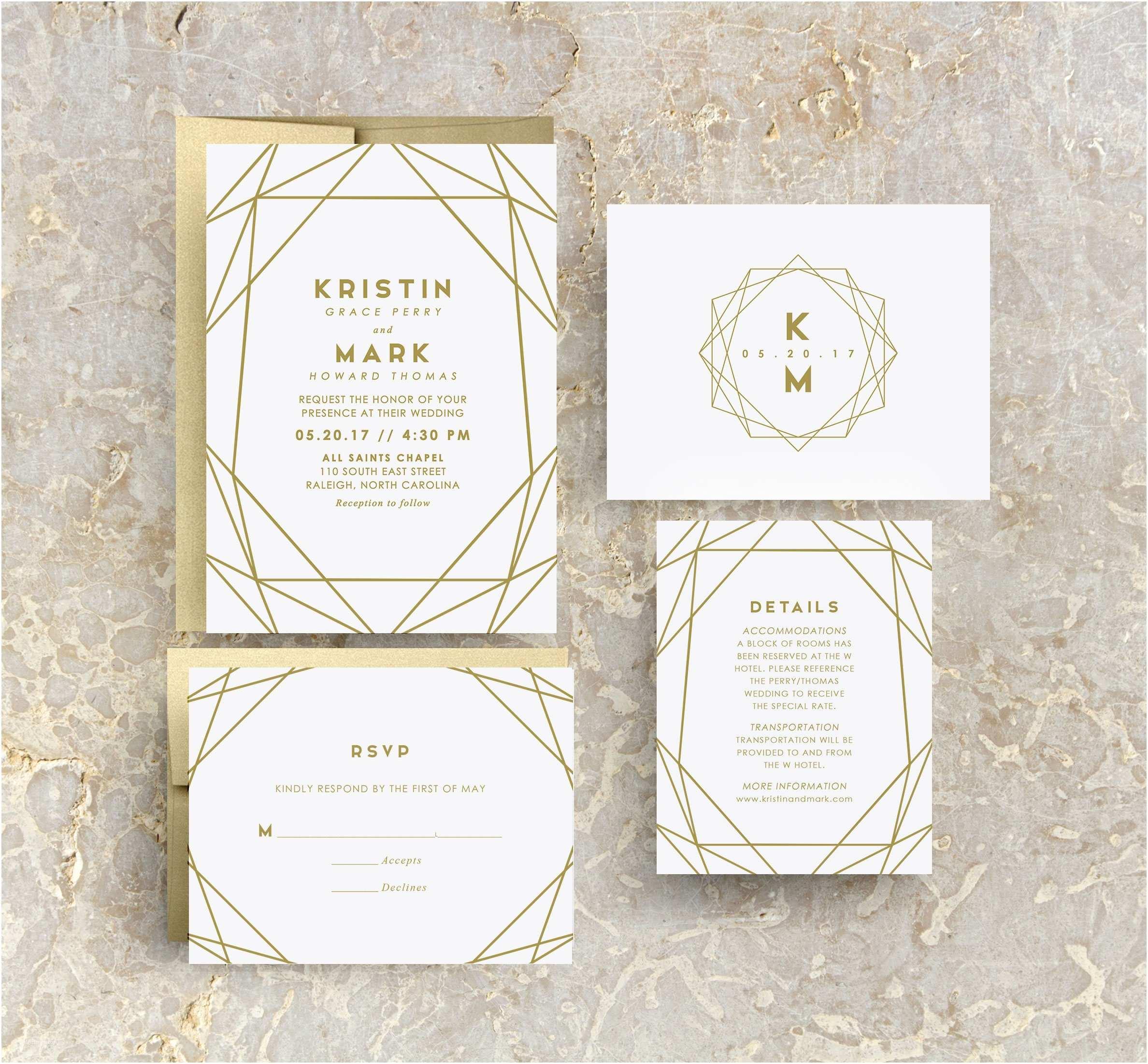 Geometric Wedding Invitations Gold Geometric Wedding Invitation Gold Wedding Gold Invites