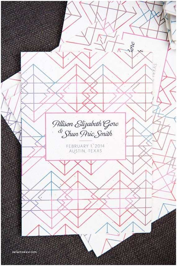 Geometric Wedding Invitations Modern Geometric and Colorful Wedding Invitation