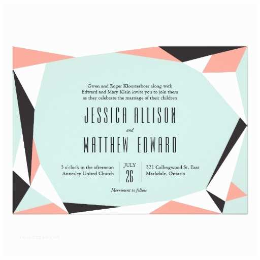 Geometric Wedding Invitations Modern Geometric Wedding Invitation Pink