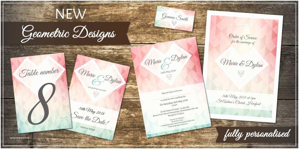 Geometric Wedding Invitations Personalised Wedding Invitations & Stationery by Bluebird