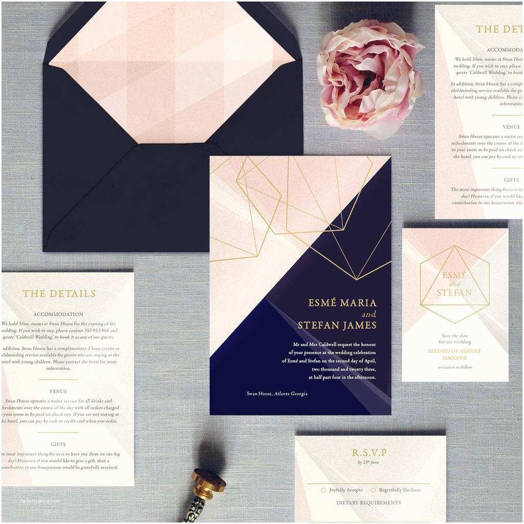Geometric Wedding Invitations Prism Geometric Wedding Invitation by Feel Good Wedding