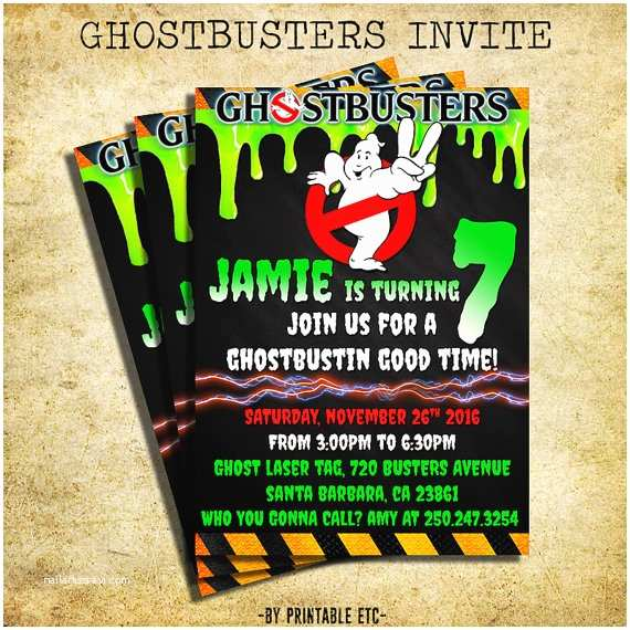 Ghostbusters Party Invitations Ghostbusters Birthday Invitation Ghostbusters Chalkboard