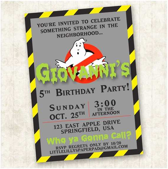 Ghostbusters Party Invitations Ghostbusters Birthday Invitation