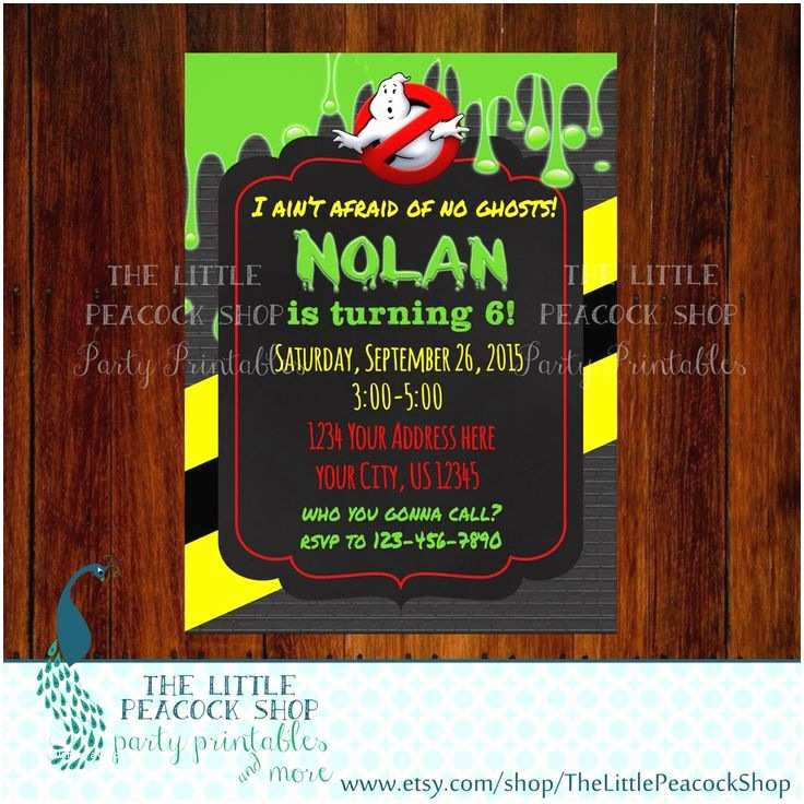 Ghostbusters Party Invitations Ghostbusters Inspired Ghost Slime Digital Birthday Party