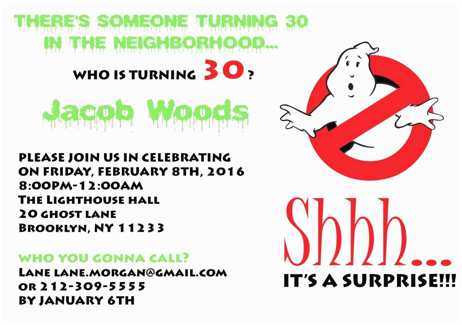 Ghostbusters Party Invitations Ghostbusters Surprise Birthday Party