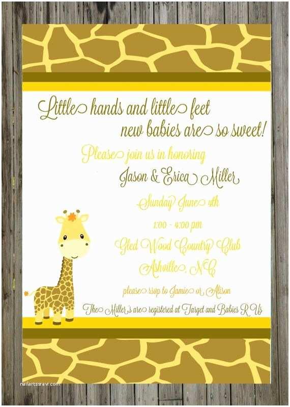 Giraffe Baby Shower Invitations Baby Shower Invitations Giraffe theme
