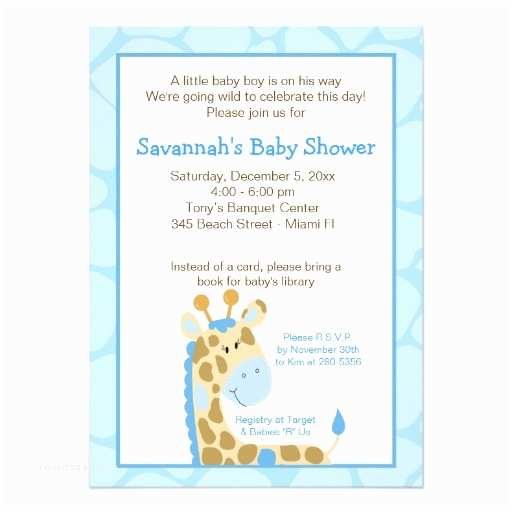 "Giraffe Baby Shower Invitations Blue Giraffe Boy Baby Shower Invitation 4 5"" X 6 25"