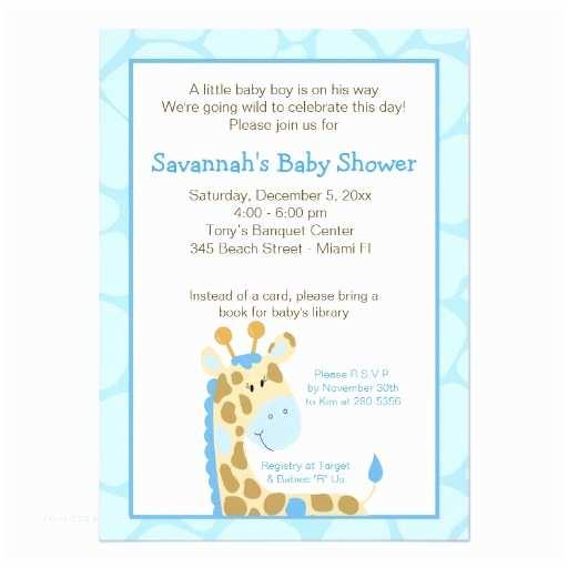 Giraffe Baby Shower Invitations Blue Giraffe Boy Baby Shower Invitation