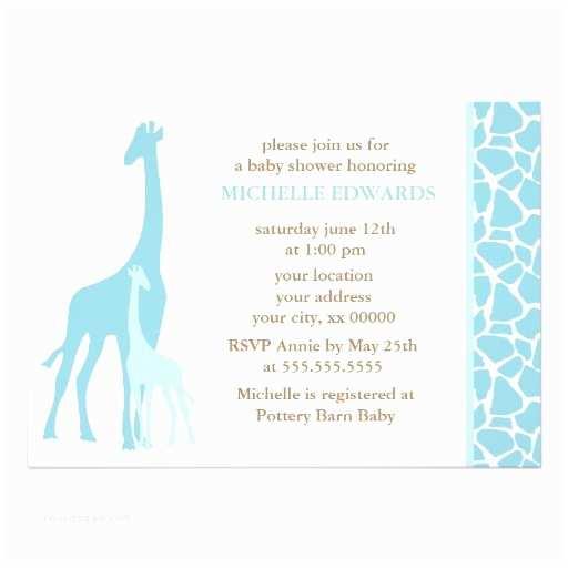 Giraffe Baby Shower Invitations Blue Mom and Baby Giraffe Baby Shower Custom Invitation