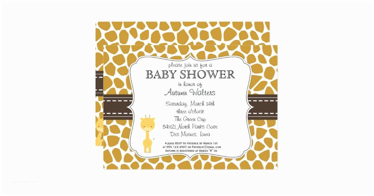Giraffe Baby Shower Invitations Custom Color Giraffe Baby Shower Invitations