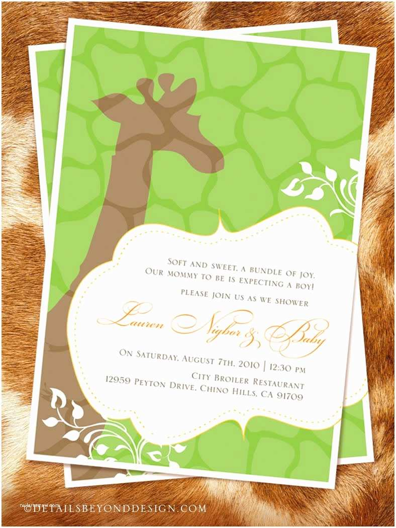 Giraffe Baby Shower Invitations Details Beyond Design by Lauren Giraffe Baby Shower