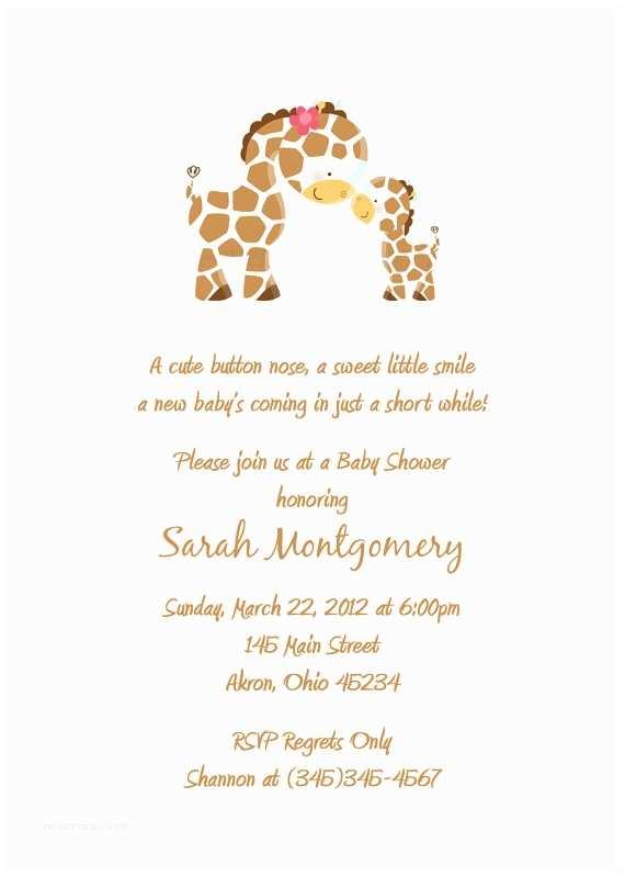Giraffe Baby Shower Invitations Giraffe Baby Shower Birthday Invitations Custom Design