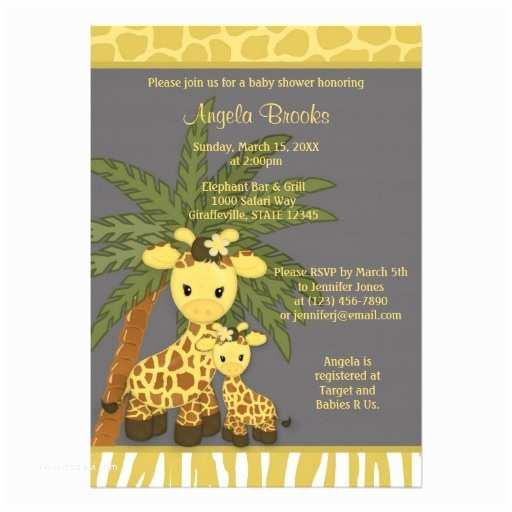 Giraffe Baby Shower Invitations Giraffe Baby Shower Invitation Mommy Gray Yellow