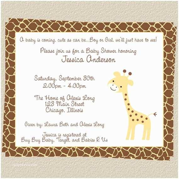 Giraffe Baby Shower Invitations Giraffe Baby Shower Invitation Pink Girl Animal Print