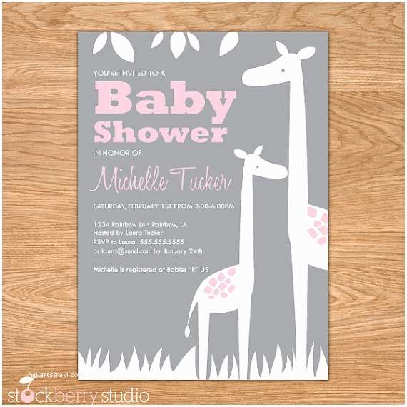 Giraffe Baby Shower Invitations Giraffe Baby Shower Invitation Printable Girl Baby Shower