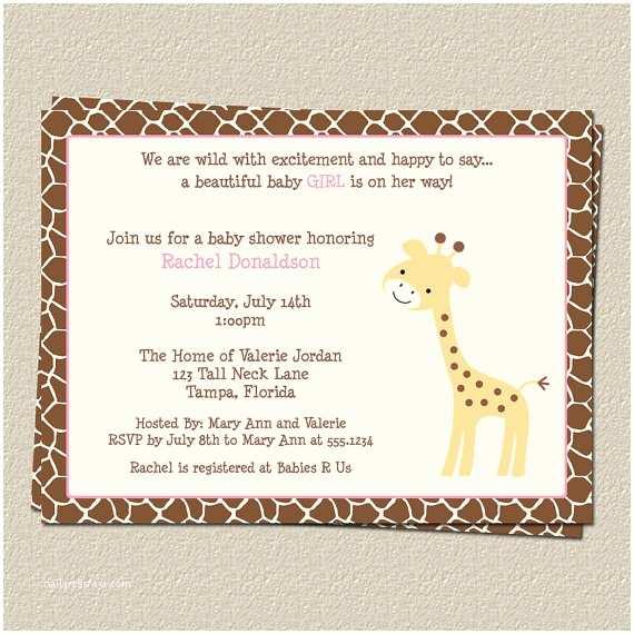 Giraffe Baby Shower Invitations Giraffe Baby Shower Invitation with Pink for by
