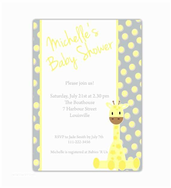 Giraffe Baby Shower Invitations Giraffe Baby Shower