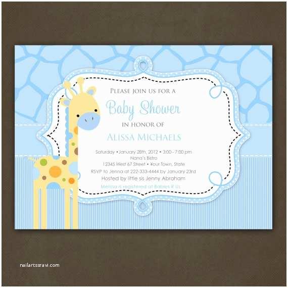 Giraffe Baby Shower Invitations Giraffe Boy Baby Shower Invitations Printable by
