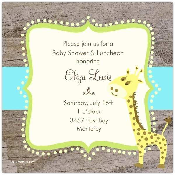 Giraffe Baby Shower Invitations Giraffe Dots Ribbon Baby Shower Invitations