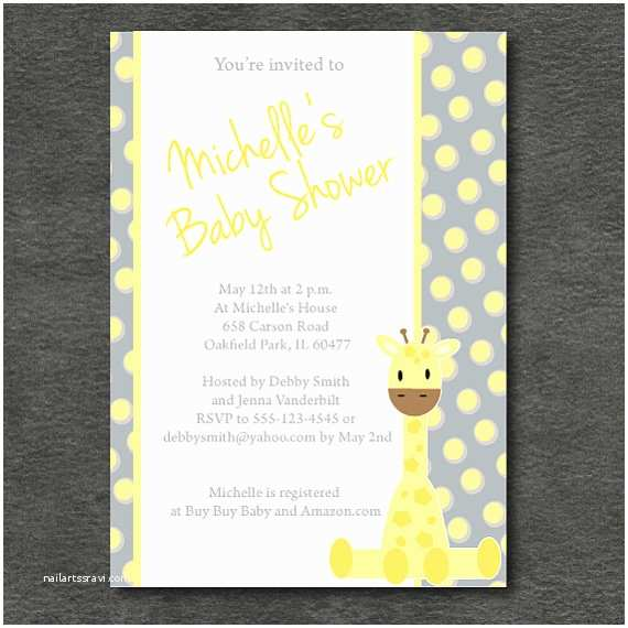 Giraffe Baby Shower Invitations Items Similar to Giraffe Baby Shower Invitation Grey and