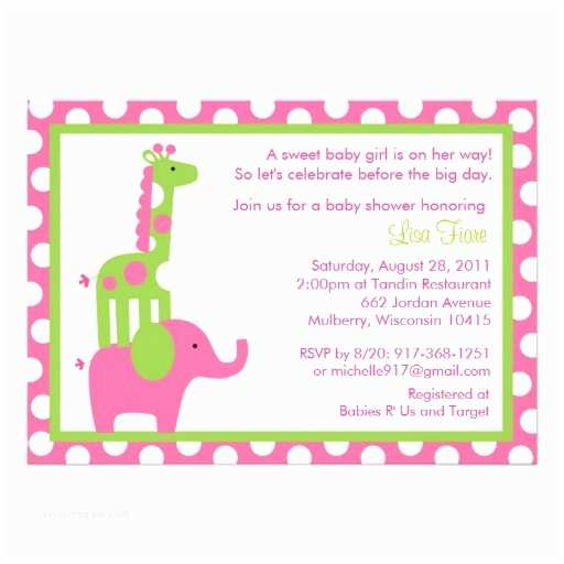 "Giraffe Baby Shower Invitations Mod Elephant Giraffe Baby Shower Invitations 5"" X 7"