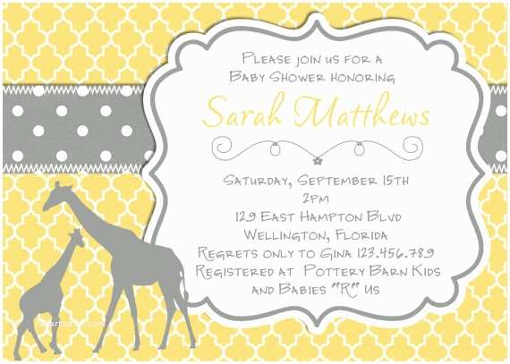 Giraffe Baby Shower Invitations Mod Giraffe Baby Shower Invitation Yellow Gray Trefoil