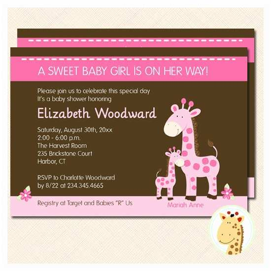 Giraffe Baby Shower Invitations Mommy and Baby Giraffe Baby Shower Invitation by