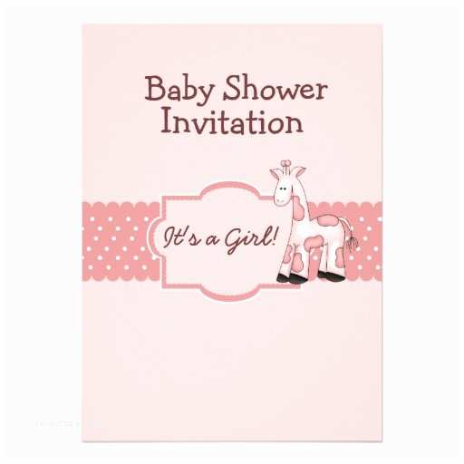 "Giraffe Baby Shower Invitations Pink Giraffe Baby Shower Invitation 5"" X 7"" Invitation"